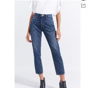 CURRENT ELLIOTT Vintage Studded Slim Crop Jeans 23